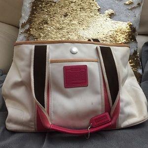 COACH White/Pink/Brown Mini Hampton Tote